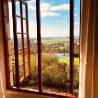 Farm stay accommodation at Packwood Country House; Views from the sitting room